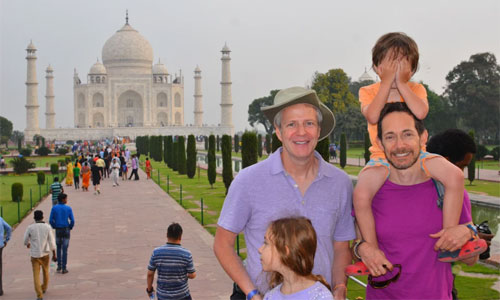 Tourists enjoying a photo tour in Agra